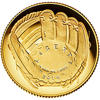 Baseball Hall of Fame Gold Proof Commemorative Coin Obverse